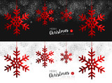 Fototapety Red Snowflake social media cover for christmas