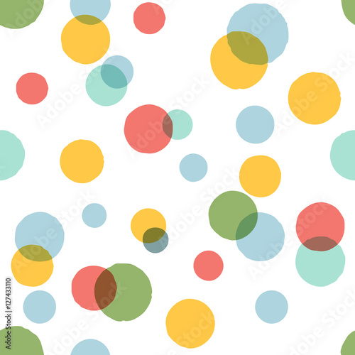 Cotton fabric Big color dots pattern.