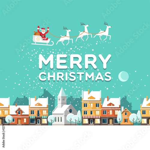 Poster Groene koraal Snowy street. Urban winter landscape. Santa Claus with deers in sky above the town. Christmas city. Vector illustration.