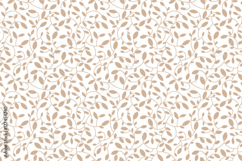 Floral seamless pattern. Brown leaves and sprouts. Transparent background. Vector. Print for textile or web - 127454740