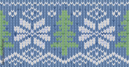 Materiał do szycia Knitted Happy New Year winter pattern with xmas tree, vector illustration