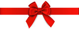 Decorative red bow with horizontal ribbon. Vector bow for page decor