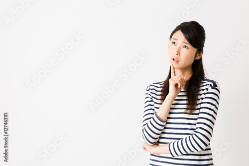 Poster portrait of young asian woman thinking isolated on white background