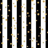 Fototapety Gold polka dot on lines seamless pattern background. Golden foil confetti. Black and white stripes. Christmas glitter design decoration for card, wallpaper, wrapping, textile. Vector Illustration