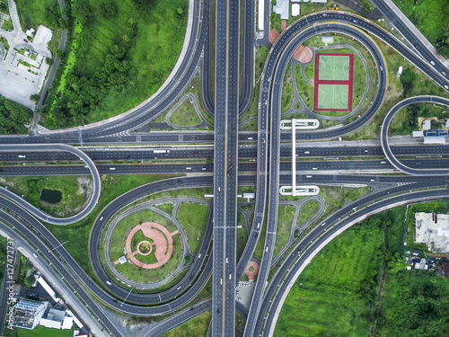 Deurstickers Shanghai Road beautiful Aerial View of Busy Intersection at Night , Ratch