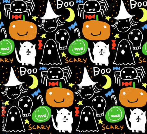 Materiał do szycia Seamless Halloween pattern for card, flayer, banner, poster templates. Hand drawn traditional symbols, cute design elements, handwritten ink lettering. Made in the technique of hand drawing.