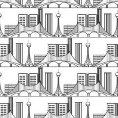 Urban city seamless pattern. Vector sky tower apartments bridge background
