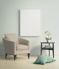 Contemporary modern interior with beige armchair and a canvas