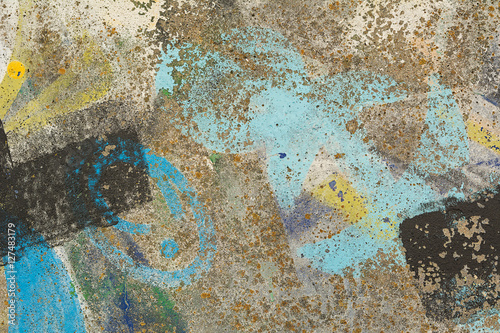 Street art graffiti. Wall painted in different colors. Abstract colorful background.