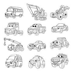 Set of fanny cartoon transport. Coloring book