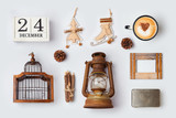 Christmas rustic ornaments and objects for mock up template design.View from above. Flat lay
