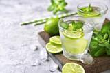 Cold refreshing summer lemonade mojito. - 127498385