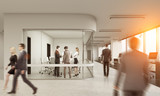 Rear view of people in glass meeting room