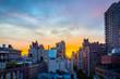 Sunset over a New York City neighborhood.