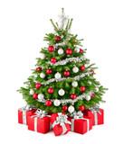 Eleganter Weihnachtsbaum und Geschenke in Rot, Weiß und Silber, Freisteller