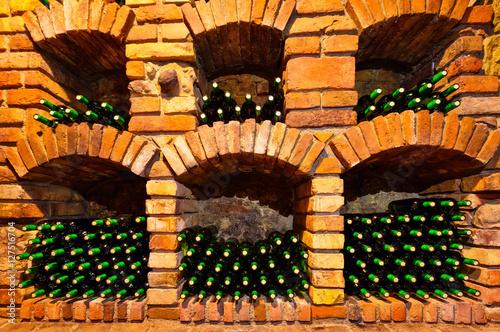 Fototapeta Many bottles in wine cellar
