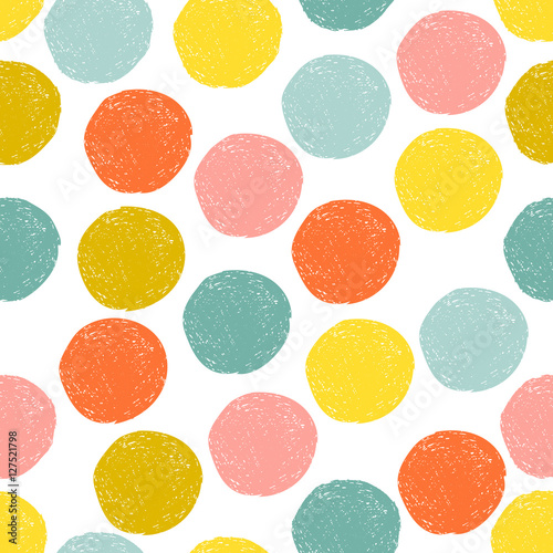 Materiał do szycia Colorful cute yellow, pink, blue, orange random grunge polka dot, seamless pattern. Sketch circle on white background. Abstract round seamless, wallpaper. Vector illustration.
