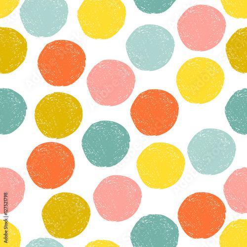 Stoffe zum Nähen Bunte Süße gelb, rosa, blau, orange zufällige Grunge Tupfen, nahtlose Muster. Skizze-Kreis auf weißem Hintergrund. Abstrakte runden nahtlosen, Tapete. Vektor-Illustration.