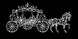 Horse Carriage Silver Silhouette  Illustration Art Silver Glitter Icon Creative Concept For Web Glow Light Confetti Bright Sequins Sparkle Tinsel  Bling Shimmer Dust Wall Sticker