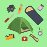 Vector set of camping elements. Camping equipment.