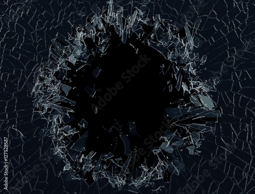 3d render, digital illustration, explosion, cracked glass, wall