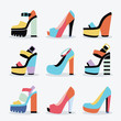 Retro colorful and trendy women isolated platform high heel shoes set on white background
