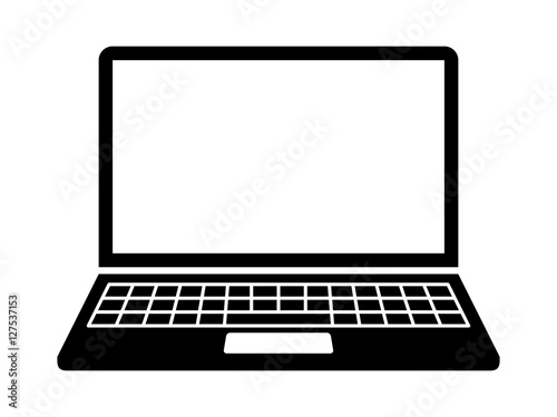 Laptop computer or notebook computer flat icon for apps and websites