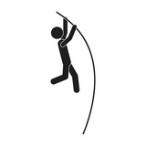 monochrome silhouette pole vault man vector illustration
