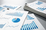 Prepareing report. Blue graphs and charts.