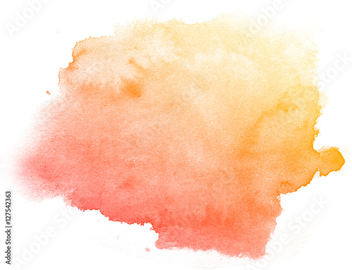 Abstract red watercolor on white background.This is watercolor splash.It is drawn by hand.