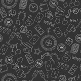 Seamless pattern on the theme of gambling and money simple contour icons on dark background - 127544348