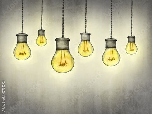 Fototapeta Leuchtende Hängelampen im Industristil