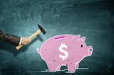Pink piggy bank . Mixed media
