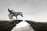 Businesswoman ride zebra . Mixed media