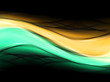 Abstract background powerful effect lighting. Green orange blurred color waves design. Glowing template for your creative graphics.