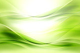 Green bright waves art. Blurred effect background. Abstract creative graphic design. Decorative fractal style. - 127552753