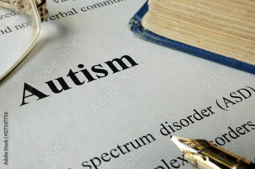 Poster Autism spectrum disorder ASD written on a paper.