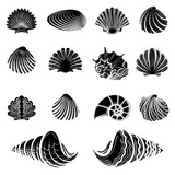 Black sea shells silhouettes collection isolated on white vector