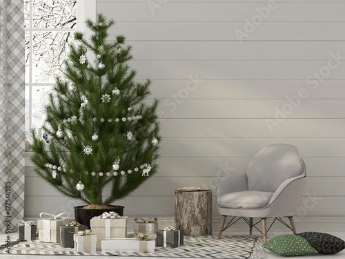 Christmas interior in beige tones