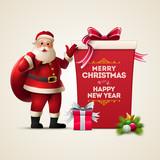 Santa Claus and Big Gift Box