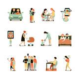 Internet Addiction Decorative Icons Set