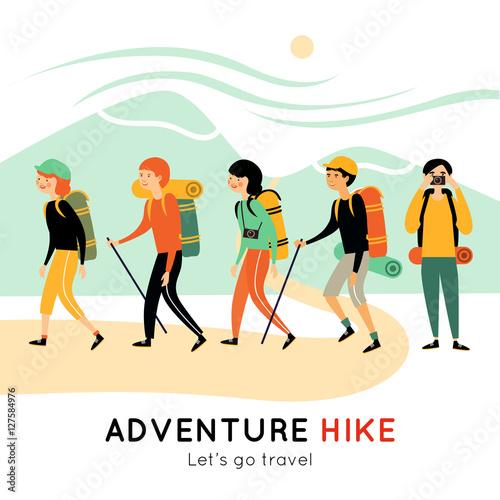 Adventure Hike Of Happy Friends