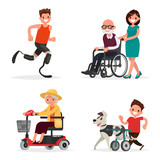 Set of people and pets with disabilities. Athlete, grandparents
