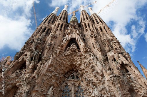 Barcelona, Spain - Sagrada Familia, roman catholic church designed by the architect Antoni Gaudi
