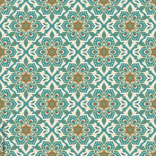 Cotton fabric Seamless hand drawn mandala pattern.