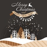 a holiday poster with the image of a beautiful Christmas forest. vector winter landscape