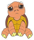 sit, sad, animal, pet, cartoon, brown, tortoise, slow, armor, amphibian, illustration, zoo, wild, reptile, symbol, 23 May, comic, toy, turtle