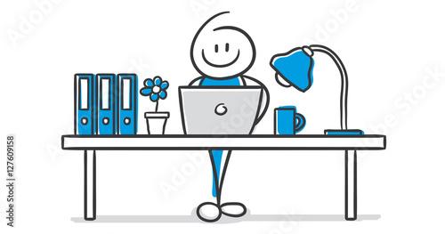 Schreibtisch büro clipart  GamesAgeddon - Stick Figure Series Blue / Büro - Lizenzfreie Fotos ...