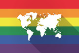 Long shadow lgbt flag with a world map