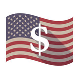 Long shadow USA flag with a dollar sign